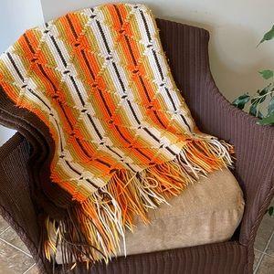 Vintage Afghan Throw Blanket 70's colours